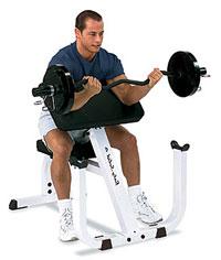 Ejercicio de banco con antebrazos apoyados para desarrollar bíceps