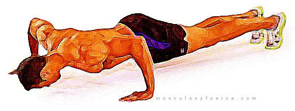 Tipos de Flexiones. Plancha con Salto alternado