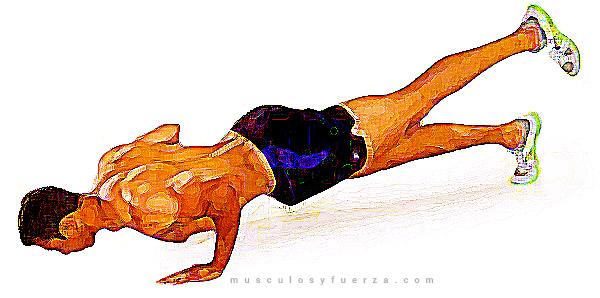 Tipos de Flexiones. Plancha con una Pierna Arriba